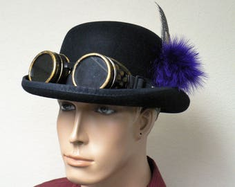 Steampunk Bowler Hat, Victorian Hat, Costume, Costplay, OOAK