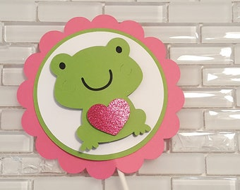 Little Frog Cake Topper in Pink and Green for Birthday or Baby Shower