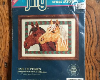 "1993 Dimensions Jiffy Counted Coss Stitch Kit Pair of Ponies 7"" x 5"""