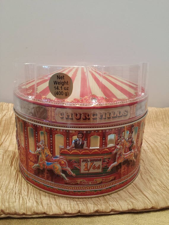 Churchill's Confectionary of London Carousel Tin - Highly Collectible Vintage Tin
