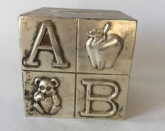 Vintage Baby Silver Plated Bank ABC