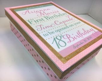 1st Birthday Time Capusule Keepsake box -CUSTOM Golden Theme