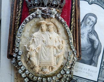 SOLD LISTING:  Antique French Virgin Mary Altar, Antique Devotional Gothic Assemblage, by RusticGypsyCreations
