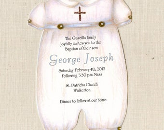 Personalized Baptism Invitations - Baptism Party - Invite - Handcut - Christening - Boy Christening - Printed on 100lb Coverstock - 55