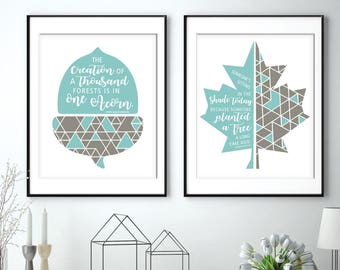 Seasons for Change (Inspired Nature Series) - Inspirational Quotes - Set of 2 Art Prints (Featured in Lagoon and Gravel) Nature Art Prints