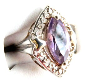 Vintage Art Deco Sterling Amethyst Marquis Ring - Light Purple - 1.3 Carats - Cut Work Setting - Prong Set - Elongated - Size 6 - Signed