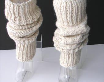 Hand Knit Chunky SEAMLESS Leg warmers Undyed MERINO ALPACA Wool  / Chunky Leg warmers /Handspun yarn knit