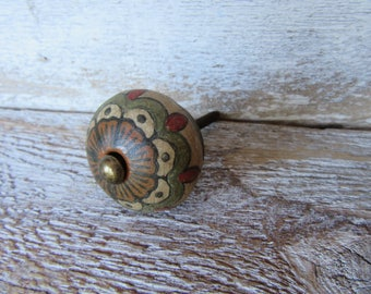 2 Hand Painted Knobs Natural Red Black Green Burnt Orange Brass Antiqued Drawer or Cabinet Knobs Pulls for your Drawers or Cabinets B-7