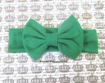 Green Baby headband, baby head wrap, toddler headband, bow knot headband, knotted bow headband, green baby hair bow, messy bow headband