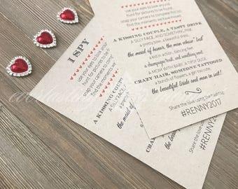 I SPY wedding game cards - I Spy kraft cards - rustic wedding games - rustic cards - Kraft game cards - wedding game cards - I spy cards