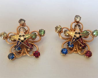 Masonic's Eastern Star clip-on earrings with semi precious stones.
