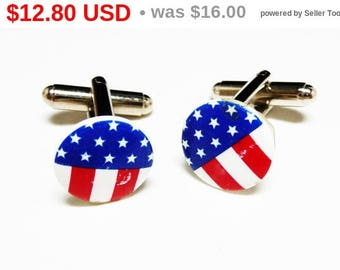 Spring Fling Sale Patriotic Flag Cuff Links, Red White Blue Lucite Cufflinks, Stars and Stripes - Fourth of July - Mens Jewelry - Novelty...