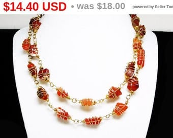 Vintage Wire Wrapped Agate Necklace - Opera Length - 1980's Retro Design