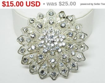 Summer Sizzler Sale Large Round Rhinestone Brooch - Silver Tone with Clear Rhinestones - Stacked Layers - Floral Snowflake Design - Vinta...