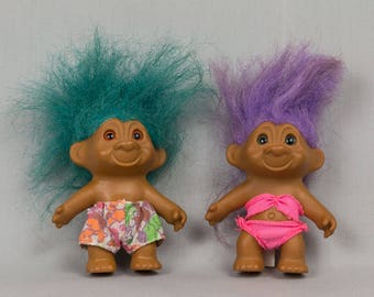 Troll Dolls Brother and Sister Romantic trolls Dressed for the beach Blue hair / Brown eyes Purple Hair / Blue eyes Swimming trolls