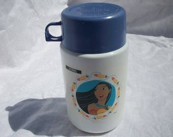 Vintage Pocohontas Thermos Drink Bottle Container for Lunch Box Disney