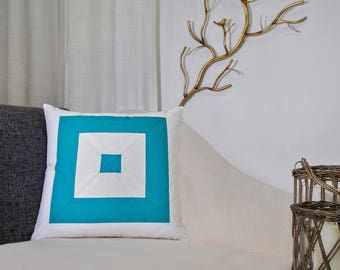 Teal blue mitered pillow cover, seashore, summer loving, beach house, coastal