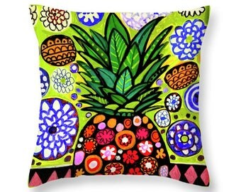 Hawaiian Pineapple Pillow Art Print Poster of Painting by Heather Galler Hawaii Tropical Fruit Beach Coastal Kitchen Decor Gift