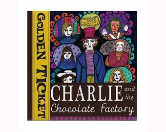 Willy Wonka Charlie & the Chocolate Factory Book Lover Tile by artist Heather Galler Charlie Book Movie Fan Art Author Gift