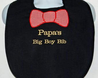 Adult Bib With Bow Tie, Papa Big Boy, Custom Funny, Canvas, Clothing Protector, Personalized With Name, No Shipping Fee, Ships TODAY 182