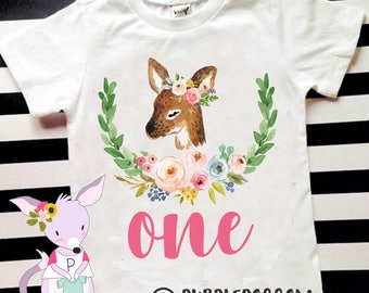 Deer birthday shirt girls birthday Fawn unicorn shirt Woodland birthday party girls birthday shirt custom birthday shirt name and number