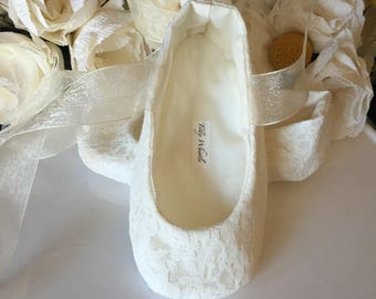 Reserved for dwipert12 - Adult size Ivory Lace Ballet Slippers