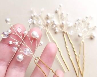 Crystal Hair Pins, Hair Vine, Pearl Hair Pieces, Beaded Hair pins, Bridal Hair Comb, Wedding Headpiece, Hair Branches, Hair Accessories