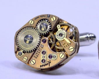 Rose gold watch movement cufflinks ideal gift for a wedding, birthday or anniversary