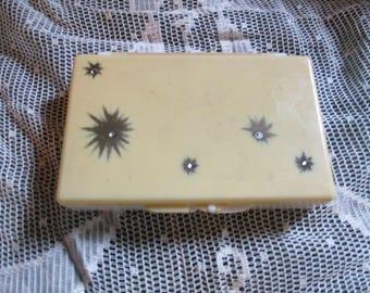 Vtg Mid Century Soft Pink Retro Atomic Starburst Rhinestone Designs Plastic Compact Travel Kleenex Tissue Box
