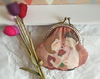 """Lovers"" illustrated fabric purse"