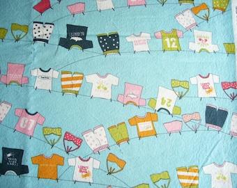 Lucy's Crab Shack Clothesline cotton quilting fabric - OOP - yardage - aqua orange green pink black white - rare, HTF
