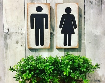 His Her Bathroom Sign, His And Hers Bathroom Sign