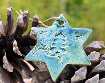 Décoration de noël 1 étoile en céramique à suspendre /Decoration of nöel star  of ceramic to hang