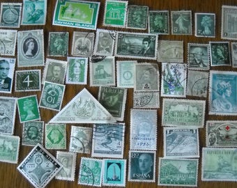 50 Green Used World Postage Stamps for crafting, collage, cards, altered art, scrapbooks, decoupage, history, collecting, philately 3c