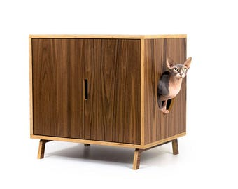 "AS-IS discount ~ Ready to Ship! ~ Mid Century Modern Cat Litter Box Furniture | LARGE Cat Litter Box Cover | Cat House | ""Standard Cabinet"""