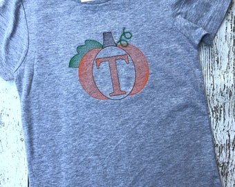 Pumpkin shirt for boys and girls, monogrammed, personalized, and customized with embroidery
