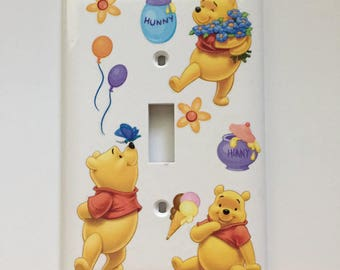 Pooh and His Love for Hunny, Child's Room, Baby Gift, Pooh Bear, Hunny Pots, Balloons, Flowers, Ice Cream Cone, Butterfly