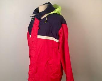 Red Blue Nylon Zip Up Jacket with green neon hood 80s Vintage Windbreaker large Men