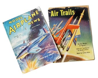 Two 1940s-50s Model Airplane Magazines - Model Airplane News & Air Trails Magazines