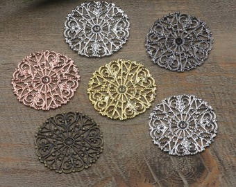 Wholesale 50 Brass Filigree Floral 31mm Round Component Raw Brass/ Antique Bronze/ Silver/ Gold/ Rose Gold/ White Gold/ Gun-Metal - Z5328