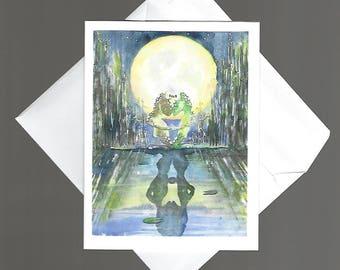 Note Card Moonlit Love bowman blank inside notecard 4x6 little frogs in the moonlight happypaints portrait wildlife nature fun humor cute