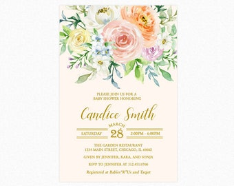 Floral Baby Shower Invitations 2, Spring Baby Shower Invitation, Botanical, Watercolor Flowers Printable or Printed