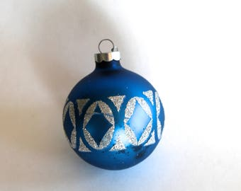 Vintage 1960's Blue Glass Ball Christmas Tree Ornament with Silver Glitter Design!
