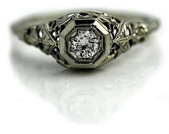Diamond engagement ring - Unique engagement ring - Delicate diamond ring -14k white gold diamond engagement ring - Solitaire engagement ring