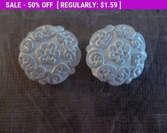 50% OFF Clearance SALE White Crystal Coin Beads - 22mm Round Beads - Mediterranean Design - Lucite from Germany - Qty 2