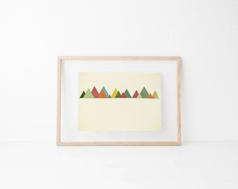Geometric Art, Landscape Print, Minimalist Decor, Autumn Colours - Mountain Range