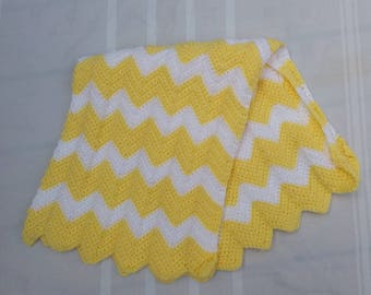 Crocheted Baby Blanket Yellow and White