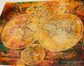 Hand Painted Old World Map CANVAS! Antique Globe Map Matted 16X20 Painting-Print by Fae Factory Artist Dr Franky Dolan (Wall Fine Art Decor)