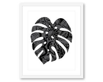 Monstera Print Monstera Leaf Art print Monstera Wall Art Leaf Wall Art
