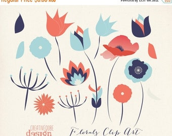 80% Off SALE Flower Clipart Digital Clip Art, Vectors - Flowers, leaves